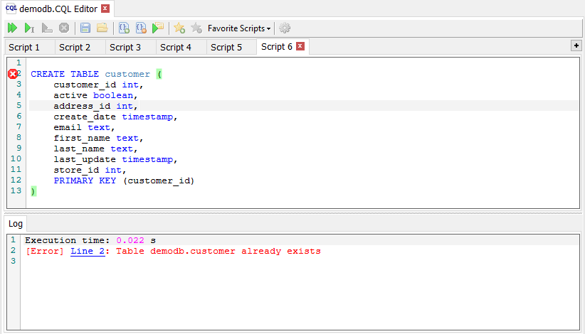 CQL Editor error statement