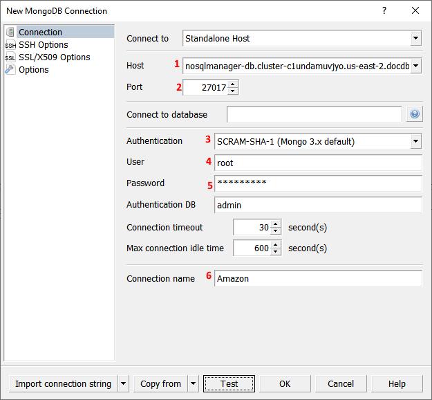 Amazon DocumentDB set connection